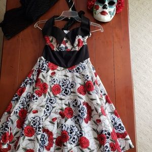 Halloween Dress, Shawl and Mask